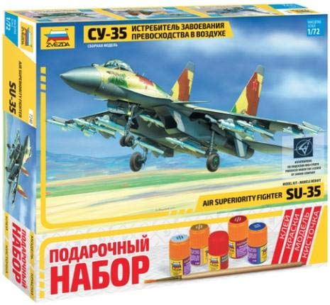 ZVEZDA 7240 P Russian Fighter SU-35 Flanker-E Gift Set (Paints Included) Scale -
