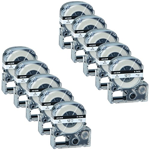 GREENCYCLE 10 Pack Compatible Epson LabelWorks Standard LK (Replaces LC) Label Tape LK-4WBN LC-4WBN9 AS12KW Black on White for LW-400 LW-700 LW-1000P Labelworks (1/2'' 26ft, 12mm x 8m) by greencycle