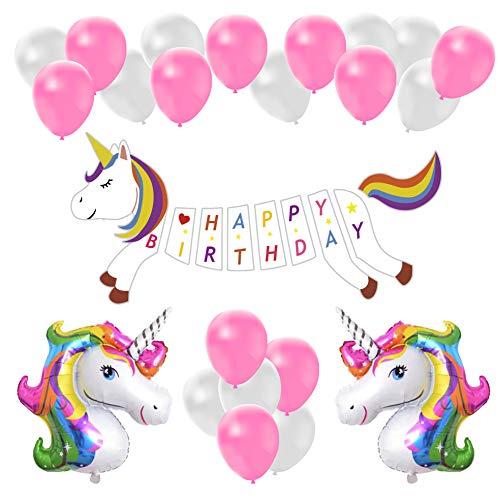 Unicorn Birthday Party Decoration Pack, Basic Unicorn Bday Party Banner Balloon Decor Set for Girl]()