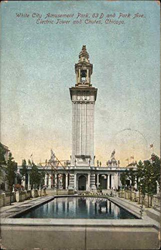White City Amusement Park - Electric Tower and Chutes Chicago, Illinois Original Vintage Postcard from CardCow Vintage Postcards