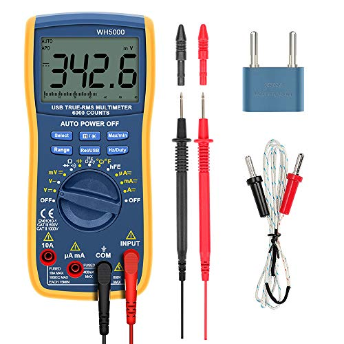 Digital Multimeter, TRMS 6000 Counts Volt Meter Auto Manual Raging Volt Tester; Measures Voltage Tester, Current, Resistance, Continuity, Frequency; Tests Diodes, Transistors, Temperature WH5000 (Transistor Testing)