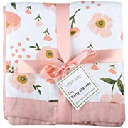 Muslin Toddler Blanket -  Floral Print  Bamboo Everything Blanket - Oversized 47  x 47  - 2 Layers Muslin Stroller Blanket for Baby Girl (Floral) (Floral)