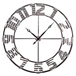 Foreside FCWX00413 Ashville Corrugated Wall Clock, X-Large, Silver