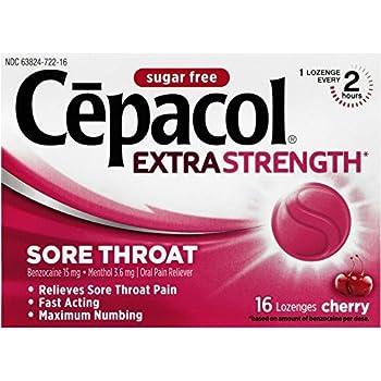 Cepacol Maximum Strength Throat Drop Lozenges, Sugar Free Cherry, 16 ct
