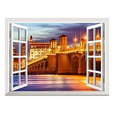 Majestic Technique, Removable Wall Sticker Wall Mural St Augustine Florida USA City Skyline and Bridge of Lions Creative Window View Wall Decor, That's 100% USA Made