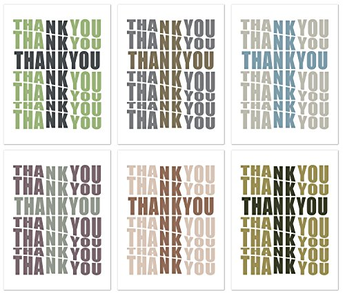 Cross Thank You Greeting Cards - Religous Blank on the Inside Note Cards with Envelopes - 6 Unique Designs - 5.5