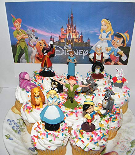 Disney Classic Movies Deluxe Cake Toppers Cupcake Decorations Set of 14 with 12 Figures and 2 Tattoos Featuring Peter Pan, Pinocchio, Alice in Wonderland and More!]()
