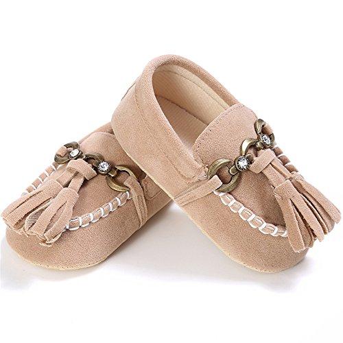 Estamico, Zapatos de los mocasines de la borla del ante del bebé, zapatillas de deporte del niño Caqui