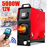 KingSo 12V 5KW All in One Diesel Air Heater + Remote Control for Car Bus RVs Trucks Van Pickup Boat Planar Warming (Single Hole)