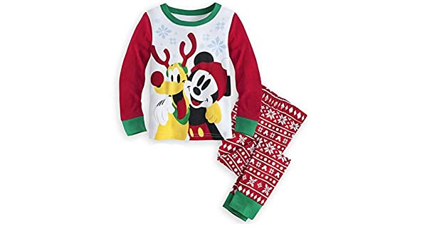 ed898ef821 Amazon.com  Disney Store Mickey Mouse Pluto 2PC Holiday Christmas Tight Fit  Pajama Set 5  Clothing