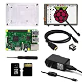 KOOKYE 8 in 1 Raspberry Pi Kit w/ Raspberry Pi Board /3.5'' LCD Touch Screen w/On/Off / Transparent Case / Power Adapter / USB Power Cable with Switch / HDMI TO HDMI Cable / Screwdriver /16GB TF Card