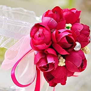 Qupida 2Pcs Wedding Girls Bridesmaid Flower Hand Wrist Corsage Ribbon Bracelets Party 27