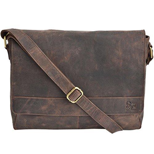 Leather Laptop Messenger Bag Office Briefcase College Bag (Brown Crazy...