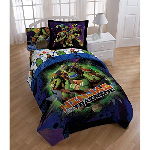 Jay Franco 3pc TWIN Size TEENAGE MUTANT NINJA TURTLES Comforter Set (COMFORTER + PILLOW SHAM + BEDSKIRT)