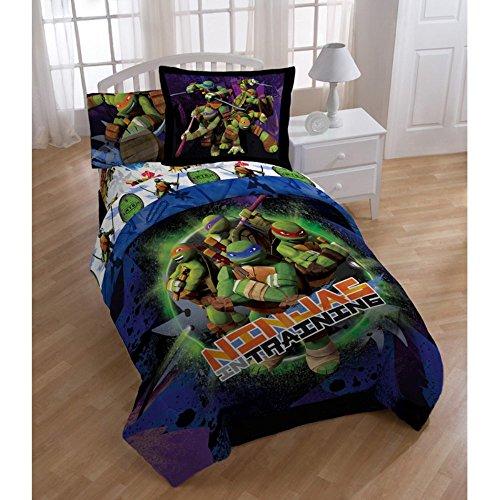 Jay Franco 3pc TWIN Size TEENAGE MUTANT NINJA TURTLES Comforter Set (COMFORTER + PILLOW SHAM + BEDSKIRT) - Kids Twin Bedskirt
