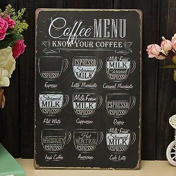 Amazon.com: SHERNICE Coffee Bar Menu Vintage Sign Pub Shop ...