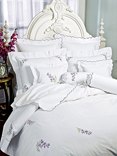 Wisteria Bed Collection Fitted Sheets, Fitted White Sateen (Full, each)