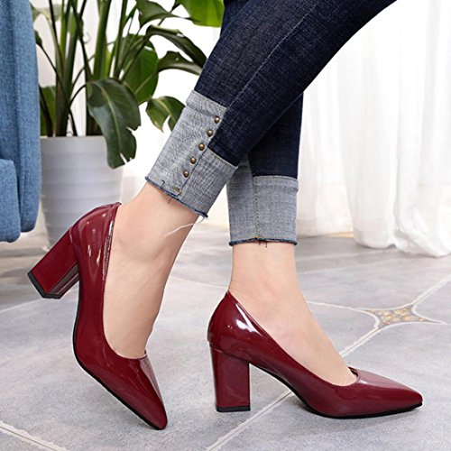 Saihui Women's Square Heel Court Shoes Pointed Toe Leather High-Heeled Pumps Wine qTbyW8Dwa0