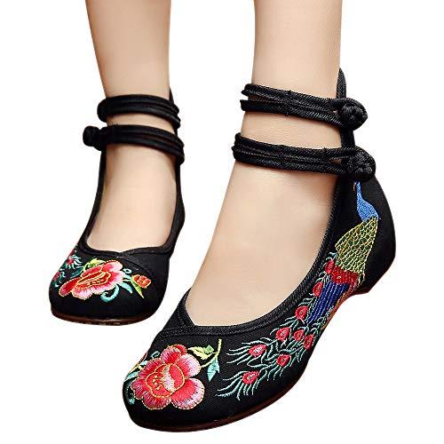 Femmes Bozevon Chaussures Broderie Compensées Chinois Avec Vintage Noir Style Pour qvTavBt