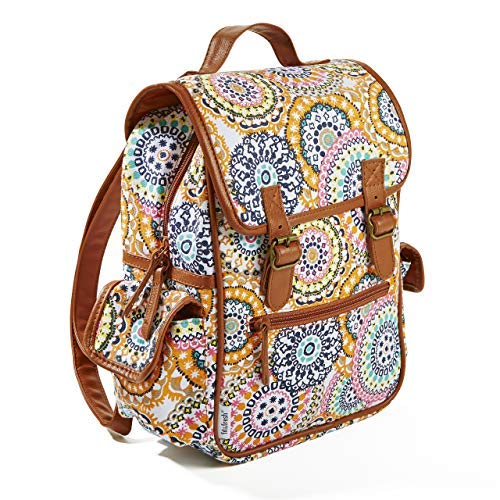 Fit & Fresh Mini Backpack for Teens and Adults, Two Buckle Closure, Multi Medallion