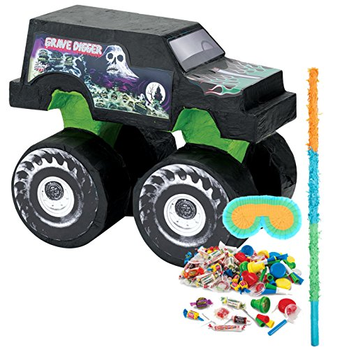 BirthdayExpress Monster Jam Party Supplies - Pinata Kit (Monster Jam Grave Digger Birthday)