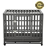 LUCKUP 38 Inch Heavy Duty Dog Cage Strong Metal Kennel and Crate for Large Dogs,Easy to Assemble Pet Playpen with Four Wheels,Black