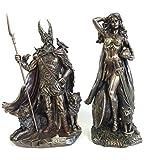 Norse Gods Odin & Freya Bronze Finish Statue Set