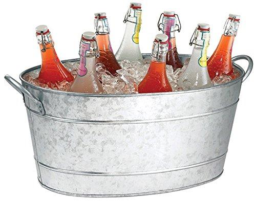 TableCraft Galvanized Beverage Tub, 5.5 Gallon 22.8 x 14.5 x 9.5-Inch IR 4033