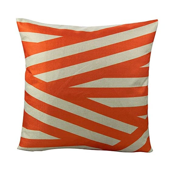 All Smiles Outdoor Patio Throw Pillow Covers Cases Indoor Furniture Decorative Cushion 18x18 Set of 4 for Home Porch Chair Couch Sofa Living Room Geometric Orange - Geometry: Zig Zag,Stripes,Circle,Chevrons,Outside Porch Garden Farmhouse Rustic Orange Color Home Décorations for Indoor/Outdoor Furniture Patio Couch Chair Car Seat,;Color:Orange Print on Beige Ground Material: Made of durable cotton blend linen,slightly rough texture,lightweight Qty: 4 pcs covers/Set of 4 (Only pillow case ,inside filler not include,The pattern is only available on the front side, the back side is Soild) - patio, outdoor-throw-pillows, outdoor-decor - 51Lq7vfdbHL. SS570  -