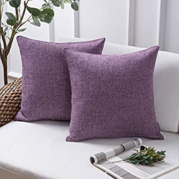 Amazon.com: Funda de cojín decorativa de lino con botones de ...
