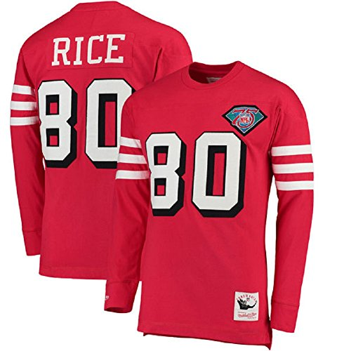 Mitchell and Ness Men's-NFL-Player Name and Number Throwback Long Sleeve T-Shirt-Jerry Rice #80-San Francisco 49ers-Red-XL