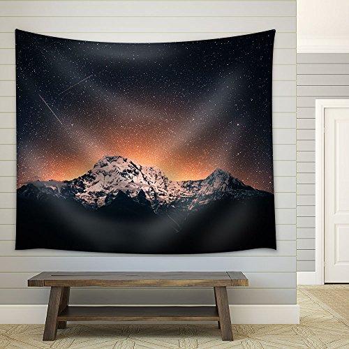 Snow Mountain Under Sea of Stars Fabric Wall