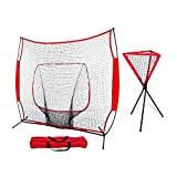 ZENY 7' x 7' Baseball Softball Practice Hitting Pitching Net with Bow Frame,Carry Bag,Great for All Skill Levels (7' x 7' Baseball Net + Ball Caddy)