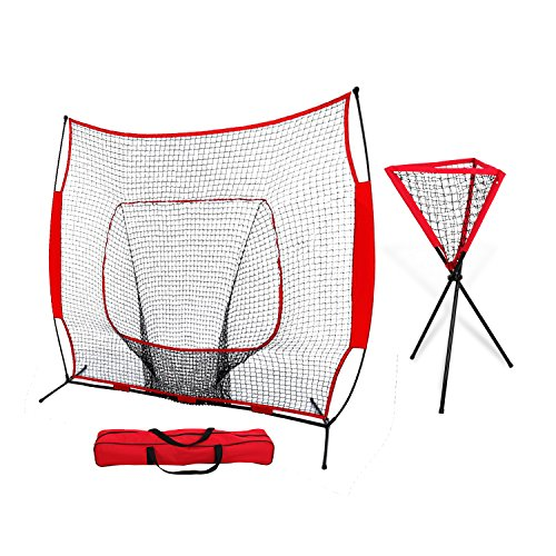 ZENY 7' x 7' Baseball Softball Practice Hitting Pitching Net with Bow Frame,Carry Bag,Great for All Skill Levels (7' x 7' Baseball Net + Ball Caddy) by ZENY