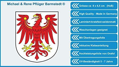 Michael Rene Pflüger Barmstedt Premium Aufkleber 8x6 5 Cm Brandenburg Adler Sticker Auto Motorrad Bike Handy Auto