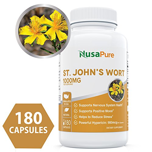 Best St. John's Wort 1000mg 180 Capsules (NON-GMO) Powerful 900mcg Hypericin Saint Johns Wort Extract for Mood, Anxiety & Depression Support (500mg per Capsule) - 100% Money Back Guarantee (Capsule 180 Wort)