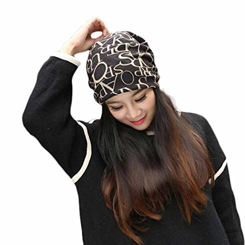 Classic Fashion Hip-Hop English Letter Multi Purpose Baggy Hat Unisex Scarf Bean Laimeng_World (Coffee) -