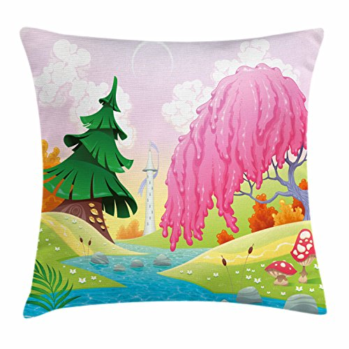 Riverside Deck Chair Set (Cartoon Throw Pillow Cushion Cover by Ambesonne, Fantasy Landscape with Unusual Trees Riverside Drawing Spring Summer Season Print, Decorative Square Accent Pillow Case, 28 X 28 Inches, Multicolor)