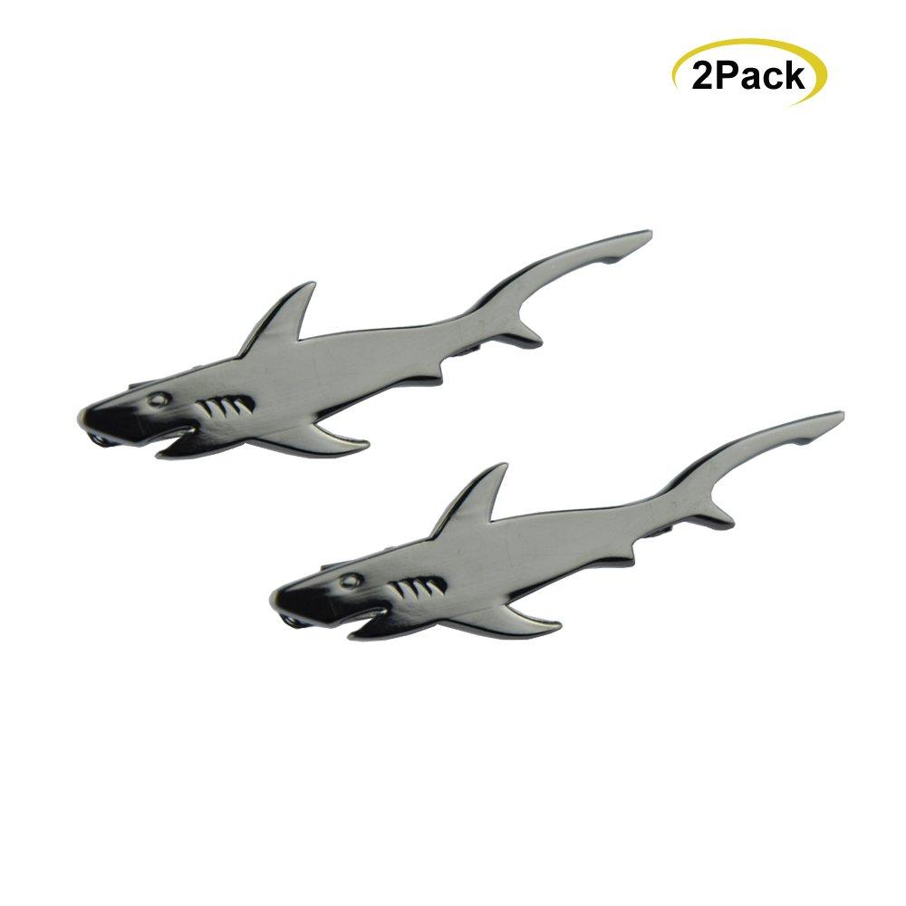NewSilkRoad Shark Shape Tie Clip Tie Bar,Men's Necktie Tie Clip Bar with Gift Bag (2pcs)