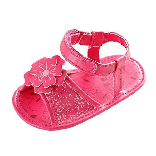 Tefamore Zapatos Sandalias Bebé de Recién Nacido Flor Suave Suela Antideslizante Zapatillas Niña Cuna Rosas fuertes