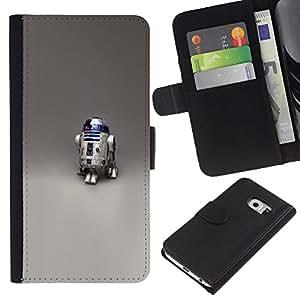LECELL--Cuero de la tarjeta la carpeta del tirón Smartphone Slots Protección Holder For Samsung Galaxy S6 EDGE -- Robot R2 D2 --