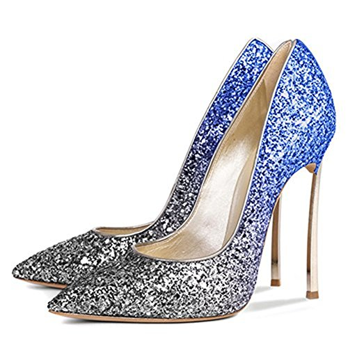 Bout Escarpins gold Paillettes Pointu Argent Escarpins Pompes Haut Talon Insole Femmes Lisse 12cm Bleu Talons métals Cuir Christ Stiletto 4wfv5FBqxT