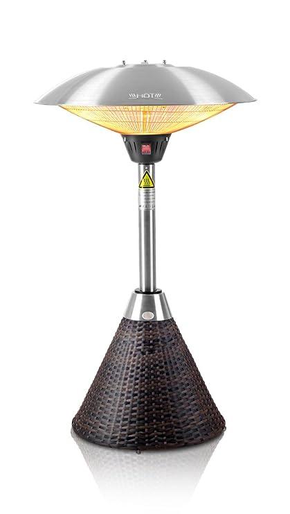 Primrose Firefly 2, 1 kW Estufa eléctrica halógena de Infrarrojos jardín al Aire Libre de Tablero de la Mesa y marrón con ratán Base y 3 ajustes de Calor: ...