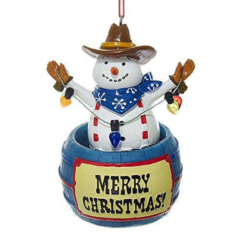 Kurt Adler Wobbling Snowman in Barrel Christmas Ornament