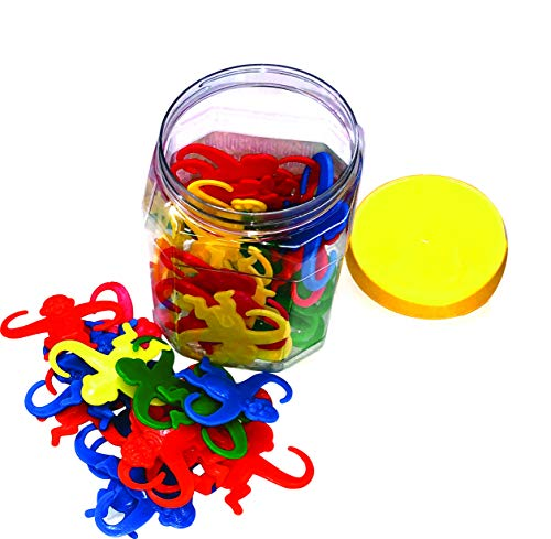 Giant Bucket of Monkeys Game - Hours of Fun for Toddlers and preschoolers. Color Sorting, Linking, Motor Skills Developing and Counting Toy for Toddlers and Kids. 50 Colorful Pieces Bucket. -