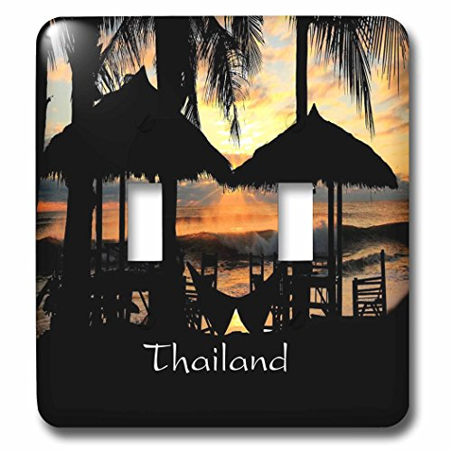 Florene Worlds Exotic Spots - Image of Tiki Huts Palms And Sunset In Thailand - Light Switch Covers - double toggle switch - Huts Thailand