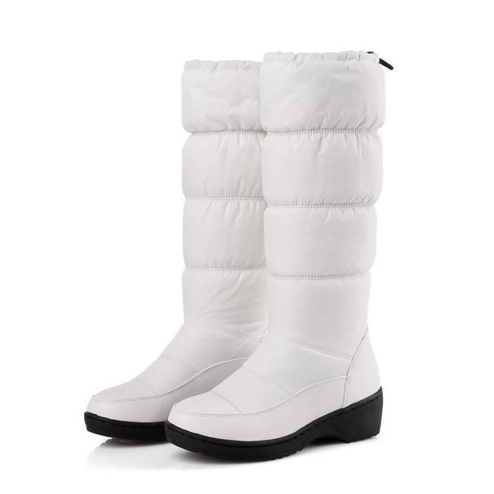 Hy Hy Hy Damen Schneestiefel Stiefel Frühling Herbst Komfort Komfort Flache Schuhe Damen Warm Winddicht Hohe Stiefel Weiß Schwarz Blau (Farbe   Weiß Größe   35) 9f7e55