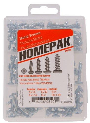 HOMEPAK 42173 Pan Head Square Drive Sheet Metal Screws (Drive Square Screws Wood)