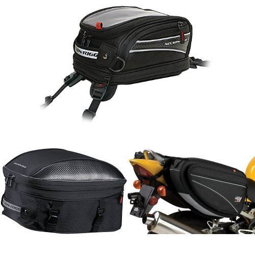 Nelson-Rigg CL-2014-ST Black Strap Mount Journey Mini Tank Bag,  CL-1060-ST Black Sport Touring Tail/Seat Pack,  and  CL-950 Black Deluxe Sport Touring Saddle Bag Bundle