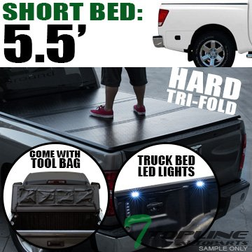- Topline Autopart Solid Hard Tri Fold Tonneau Cover With Tool Bag & Truck Bed LED Lighting System For 04-15 Nissan Titan Crew Cab 5.5 Feet (66
